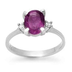 1.53 CTW Amethyst & Diamond Ring 10K Yellow Gold - REF-22F2N - 13336