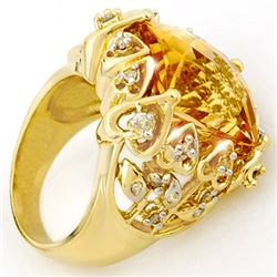 11.40 CTW Citrine & Diamond Ring 10K Yellow Gold - REF-80H9A - 10524