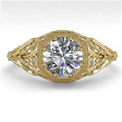 1.01 CTW VS/SI Diamond Solitaire Engagement Ring 18K Yellow Gold - REF-301F9N - 36034