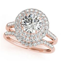 1.52 CTW Certified VS/SI Diamond 2Pc Wedding Set Solitaire Halo 14K Rose Gold - REF-167F6N - 30898