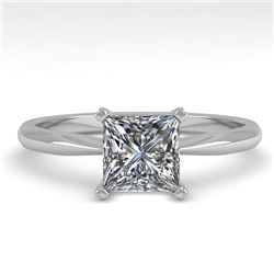1 CTW Princess Cut VS/SI Diamond Engagement Designer Ring 18K White Gold - REF-282M2H - 32415