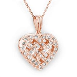 0.38 CTW Certified VS/SI Diamond Necklace 14K Rose Gold - REF-51Y3K - 13750