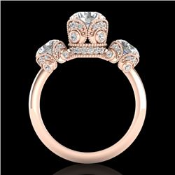 3 CTW VS/SI Diamond Solitaire Art Deco 3 Stone Ring Band 18K Rose Gold - REF-649A3X - 36867