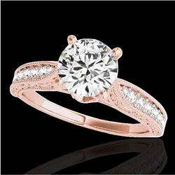 1.5 CTW H-SI/I Certified Diamond Solitaire Antique Ring 10K Rose Gold - REF-221A8X - 34730