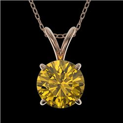 1 CTW Certified Intense Yellow SI Diamond Solitaire Necklace 10K Rose Gold - REF-147H2A - 33191