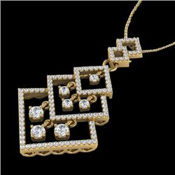 1.50 CTW Micro Pave VS/SI Diamond Necklace Dangling 14K Yellow Gold - REF-168Y2K - 22495