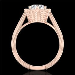 1.33 CTW VS/SI Diamond Solitaire Art Deco Ring 18K Rose Gold - REF-418A2X - 37104