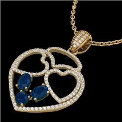 3 CTW Sapphire & Micro Pave Designer Inspired Heart Necklace 14K Yellow Gold - REF-117H8A - 22544
