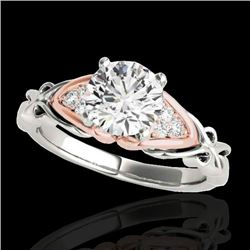1.1 CTW H-SI/I Certified Diamond Solitaire Ring 10K White & Rose Gold - REF-236H4A - 35201