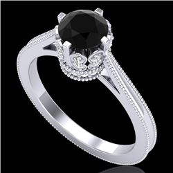 1.14 CTW Fancy Black Diamond Solitaire Engagement Art Deco Ring 18K White Gold - REF-94F5N - 37338