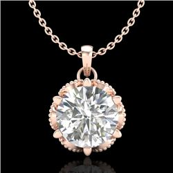 1.36 CTW VS/SI Diamond Solitaire Art Deco Necklace 18K Rose Gold - REF-361M8H - 37245