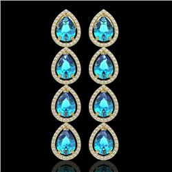 10.8 CTW Swiss Topaz & Diamond Halo Earrings 10K Yellow Gold - REF-155Y6K - 41317