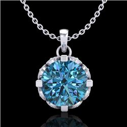 1.5 CTW Fancy Intense Blue Diamond Solitaire Art Deco Necklace 18K White Gold - REF-172F8N - 37383