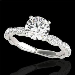1.4 CTW H-SI/I Certified Diamond Solitaire Ring 10K White Gold - REF-156N4Y - 34871
