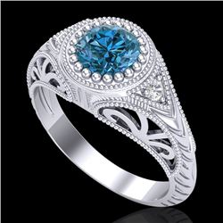 1.07 CTW Fancy Intense Blue Diamond Solitaire Art Deco Ring 18K White Gold - REF-200H2A - 37474