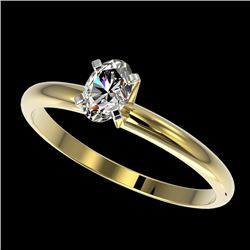0.50 CTW Certified VS/SI Quality Oval Diamond Engagement Ring 10K Yellow Gold - REF-77T6M - 32867