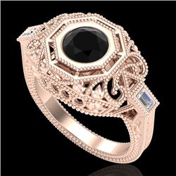 1.13 CTW Fancy Black Diamond Solitaire Engagement Art Deco Ring 18K Rose Gold - REF-140A2X - 37822