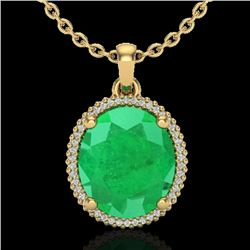 12 CTW Emerald & Micro Pave VS/SI Diamond Halo Necklace 18K Yellow Gold - REF-115W5F - 20610