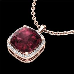 6 CTW Garnet & Micro Pave Halo VS/SI Diamond Necklace Solitaire 14K Rose Gold - REF-44F2N - 23082