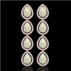 9.12 CTW Opal & Diamond Halo Earrings 10K Rose Gold - REF-174X5T - 41298