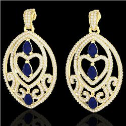 7 CTW Sapphire & Micro Pave VS/SI Diamond Heart Earrings Designer 18K Yellow Gold - REF-381X8T - 211