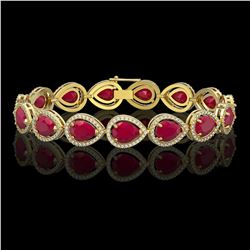 30.06 CTW Ruby & Diamond Halo Bracelet 10K Yellow Gold - REF-368T5M - 41239