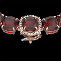 87 CTW Garnet & VS/SI Diamond Halo Micro Eternity Necklace 14K Rose Gold - REF-320W2F - 23347