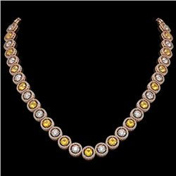 31.64 CTW Canary Yellow & White Diamond Designer Necklace 18K Rose Gold - REF-4472T8M - 42597