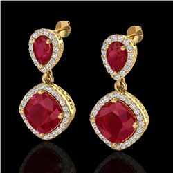 7 CTW Ruby & Micro Pave VS/SI Diamond Earrings Designer Halo 10K Yellow Gold - REF-107X3T - 20208