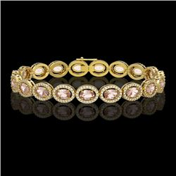 14.25 CTW Morganite & Diamond Halo Bracelet 10K Yellow Gold - REF-294A2X - 40465