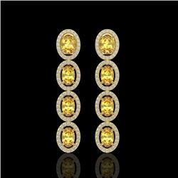 5.4 CTW Fancy Citrine & Diamond Halo Earrings 10K Yellow Gold - REF-102T2M - 40546