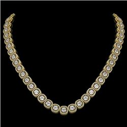 32.64 CTW Cushion Diamond Designer Necklace 18K Yellow Gold - REF-5967A6X - 42625