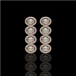 5.33 CTW Oval Diamond Designer Earrings 18K Rose Gold - REF-982N4Y - 42765
