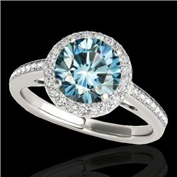 1.3 CTW Si Certified Fancy Blue Diamond Solitaire Halo Ring 10K White & Rose Gold - REF-172M8H - 343