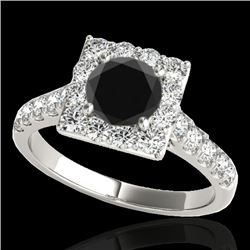 2 CTW Certified VS Black Diamond Solitaire Halo Ring 10K White Gold - REF-101N8Y - 34135
