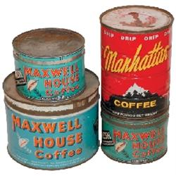 Coffee tins (4); 2 Maxwell House Coffee 1# tins, Maxwell House 3# tin w/incorrect lid &amp; Manhattan Co