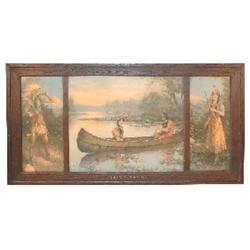 The Indian Romance 3 panel print in original carved wood frame, c.1911-J. Knowles Hare, Exc. conditi