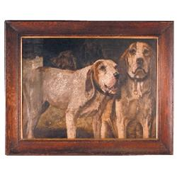 Oil on canvas, hunting dogs, painted in the likeness of H.R. Poore's  Winchester  hounds, signed F.S