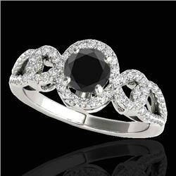 1.38 CTW Certified VS Black Diamond Solitaire Halo Ring 10K White Gold - REF-70W2F - 33921