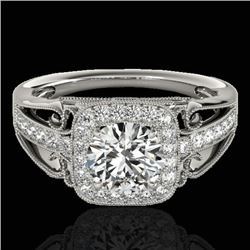 1.3 CTW H-SI/I Certified Diamond Solitaire Halo Ring 10K White Gold - REF-165H6A - 33769