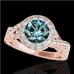 1.75 CTW Si Certified Fancy Blue Diamond Solitaire Halo Ring 10K Rose Gold - REF-263A6X - 34528