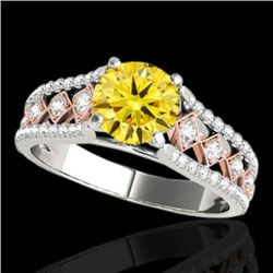 1.45 CTW Certified Si Intense Yellow Diamond Solitaire Ring 10K White & Rose Gold - REF-174N5Y - 352