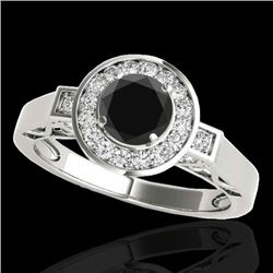 1.75 CTW Certified VS Black Diamond Solitaire Halo Ring 10K White Gold - REF-72W2F - 34579