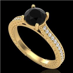 1.45 CTW Fancy Black Diamond Solitaire Engagement Art Deco Ring 18K Yellow Gold - REF-109H3A - 37753