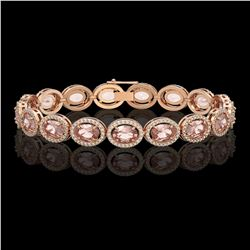 20.18 CTW Morganite & Diamond Halo Bracelet 10K Rose Gold - REF-377F3N - 40614