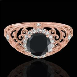 1.22 CTW Certified VS Black Diamond Solitaire Halo Ring 10K Rose Gold - REF-66W5F - 33782