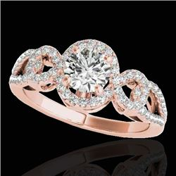 1.38 CTW H-SI/I Certified Diamond Solitaire Halo Ring 10K Rose Gold - REF-174K5W - 33919