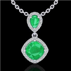 3.50 CTW Emerald & Micro VS/SI Diamond Necklace Designer Halo 10K White Gold - REF-63A6X - 20544