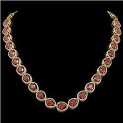 41.6 CTW Tourmaline & Diamond Halo Necklace 10K Yellow Gold - REF-832W4F - 41206