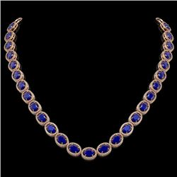 52.15 CTW Sapphire & Diamond Halo Necklace 10K Rose Gold - REF-655K3W - 40560